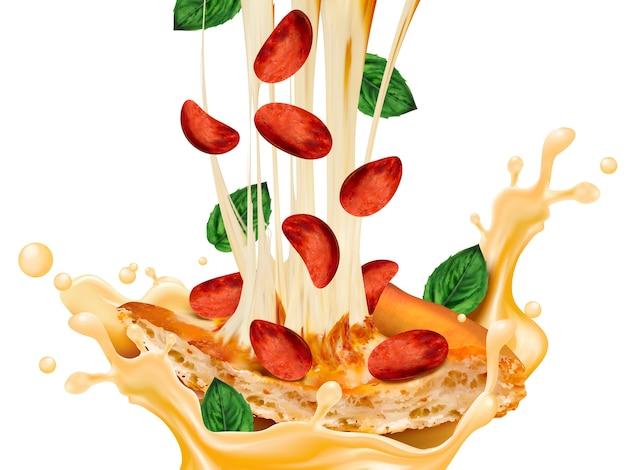 おいしいペパロニピザのイラスト