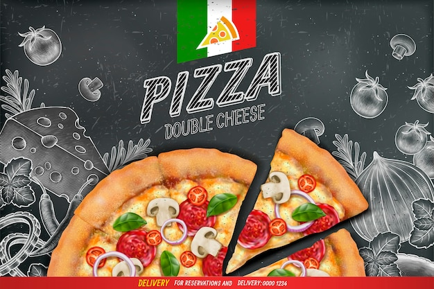 Savoury pizza ads with  rich toppings dough on engraved style chalk doodle background