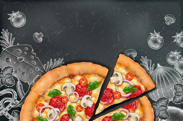 Savoury pizza with rich toppings on engraved style chalk doodle background, copy space for slogan