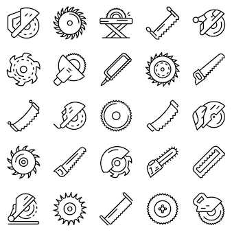 Пила набор иконок, стиль контура