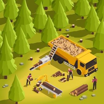 森林の3dアイソメ図における製材所と木工プロセス