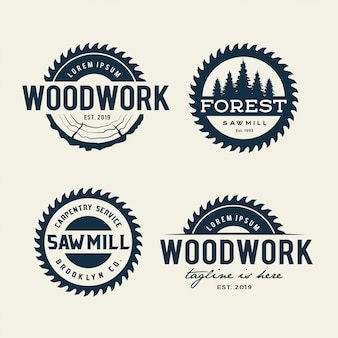 Sawmill emblem logo isolated on white