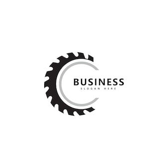 製材所のロゴアイコンイラストベクトルデザイン