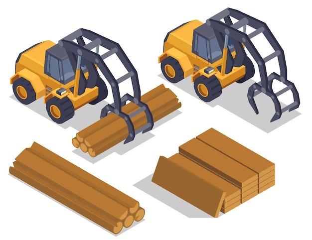 Sawmill timber mill lumberjack isometric composition with isolated images of industrial loaders manipulator vehicles and wood
