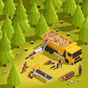 Sawmill and wood working process in forest 3d isometric