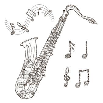 サックスと音楽ノート