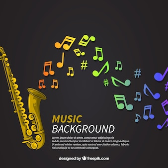 Saxophone background with colorful notes