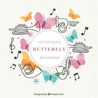 Saxophone, butterflies and music notes