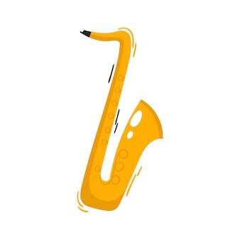 楽器の白い漫画のベクトル図に分離されたジャズとブルースのサックス
