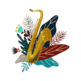 Saxophone and leaves with flowers. decorative flat doodle element for design, vector