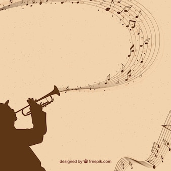 Saxophonist background with musical notes