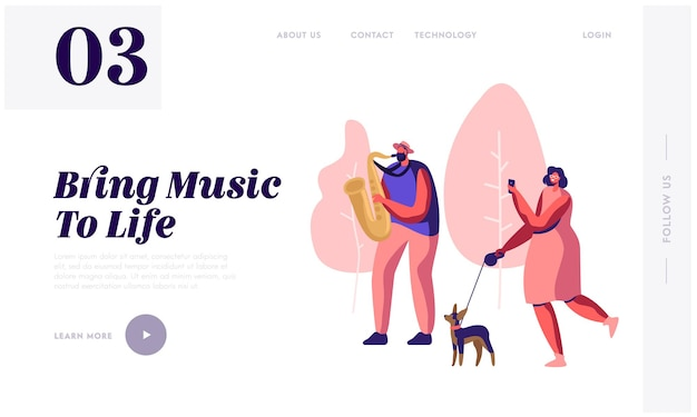 Saxophonist playing music in park, woman with dog watching concert and photographing musical performance. street outdoor show. website landing page, web page. cartoon flat vector illustration