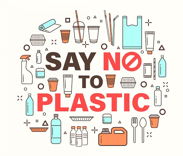 Say no to plastic illustration.