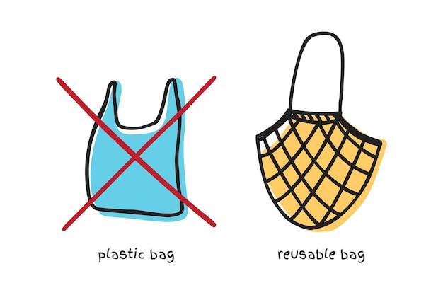 Say no to plastic sign with plastic bag and cloth fabric bag doodle vector design. zero waste concept