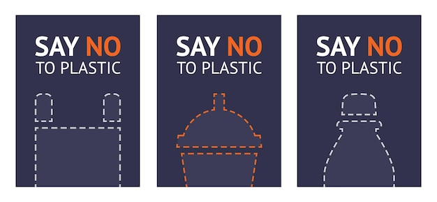 Say no to plastic Premium Vector