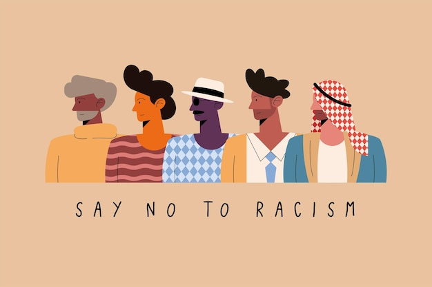 Say no to racism concept with five men