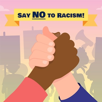 Say no to racism holding hands concept