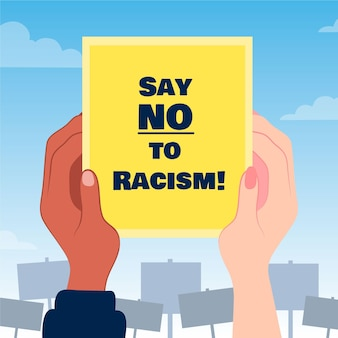 Say no to racism placard concept