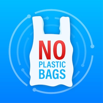 비닐 봉지 포스터에 아니오라고 말하십시오. 넣어 비닐봉투 사용 줄이기 캠페인. 벡터 재고 일러스트 레이 션