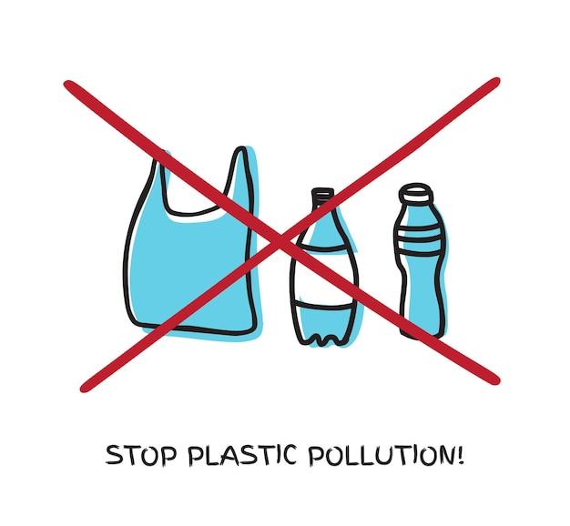흰색으로 격리된 손 벡터로 플라스틱 병 가방 낙서를 하지 마십시오. 에코, 생태 제로 폐기물 개념입니다.