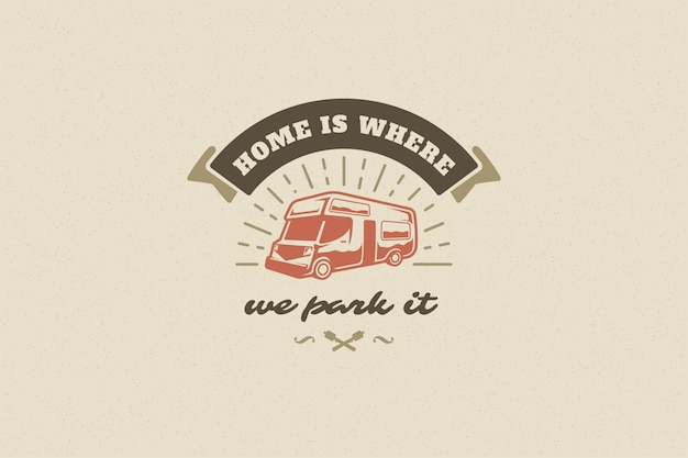 Saying quote typography with hand drawn camping caravan symbol and marshmallows for greeting card and poster