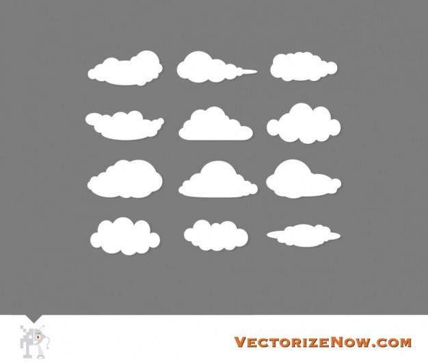Scalable cloud graphics vector set