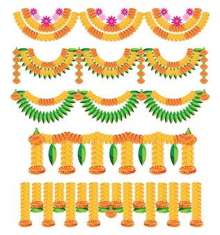 Scalable vector illustration of variety of bunting known as toran in hindi