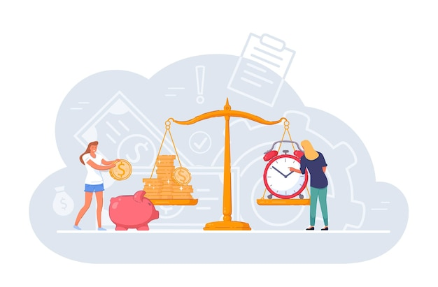 Scale weighing money saving, wealth and time balance. people weighing time and money coin stack to find balance, compare financial profit value, investment income and tense vector illustration