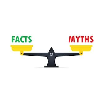 Масштаб со значком решения. факт или миф. понятие знака дезинформации или правдивых и неправдивых ежедневных новостей. вектор eps 10. изолированный на белой предпосылке.