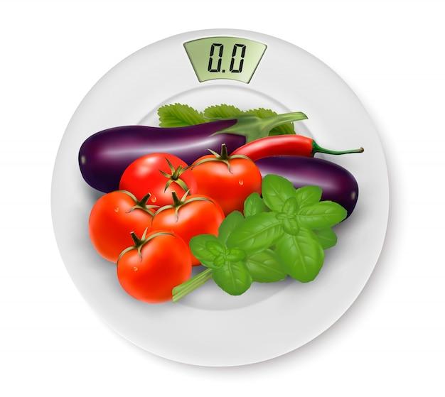 Масштаб с овощами. понятие диеты.
