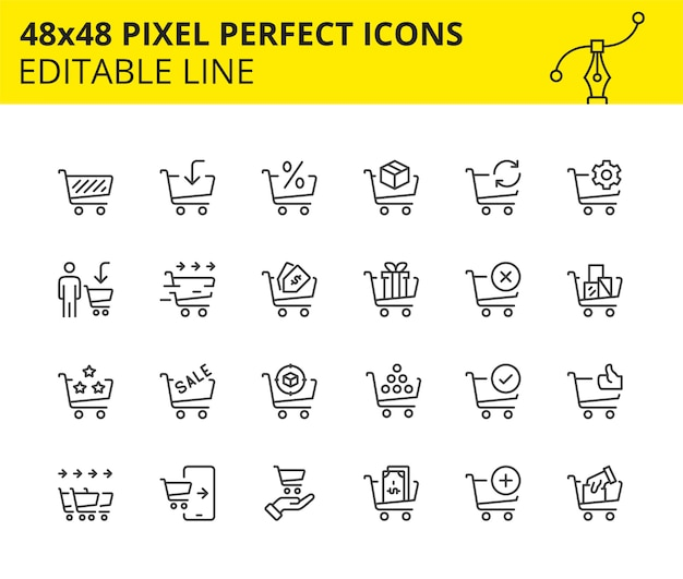 Scaled icons for shopping cart and commerce
