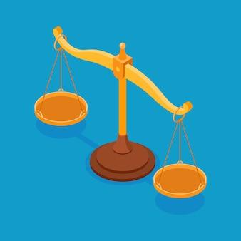 Весы пустые изометрические концепции баланса делают выбор и справедливость изолированы