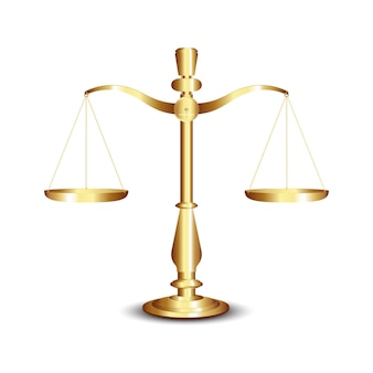 Scales, gold scales of justice isolated on white background