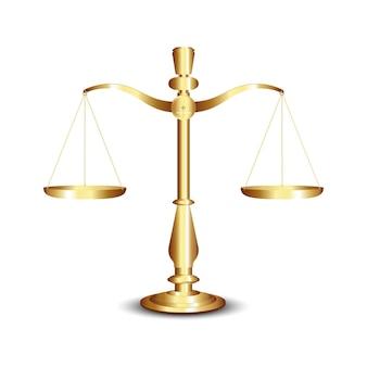 スケール、白い背景に分離された正義のゴールドスケール