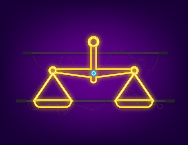 Scales icon. neon icon. libra isolated on white background. vector illustration.