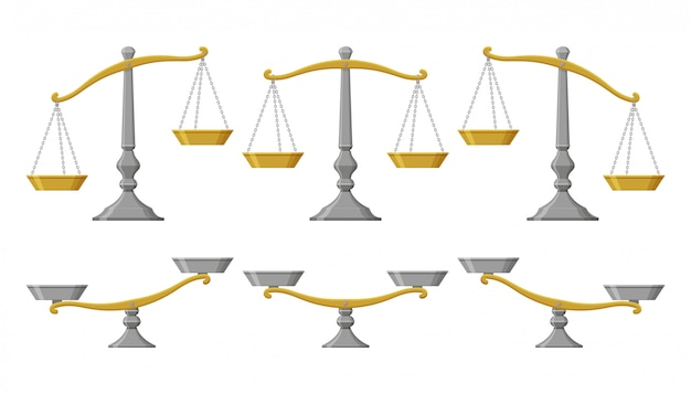 Scales set with different balances.  illustration.