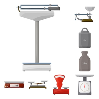 Scales for weighing cartoon elements set. isolated illustration weigher balance . elements set of instrument weigher and scales.