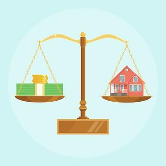 Весы с домом и стопкой денег