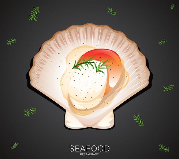 A scallop on restaurant banner