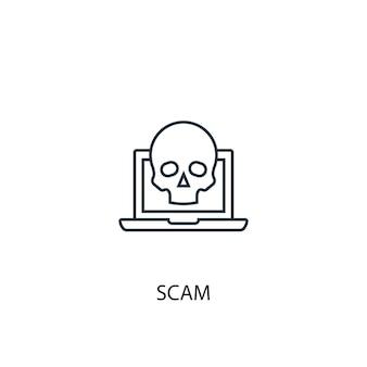 Значок линии концепции мошенничества. простая иллюстрация элемента. афера концепция наброски символ дизайн. может использоваться для веб- и мобильных ui / ux