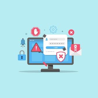 Scam fraud alert on data account personal design concept Premium Vector