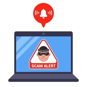 ラップトップ上の詐欺の脅威メッセージ。フラットベクトルイラスト