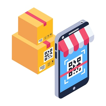 Scan barcode product code isometric icon
