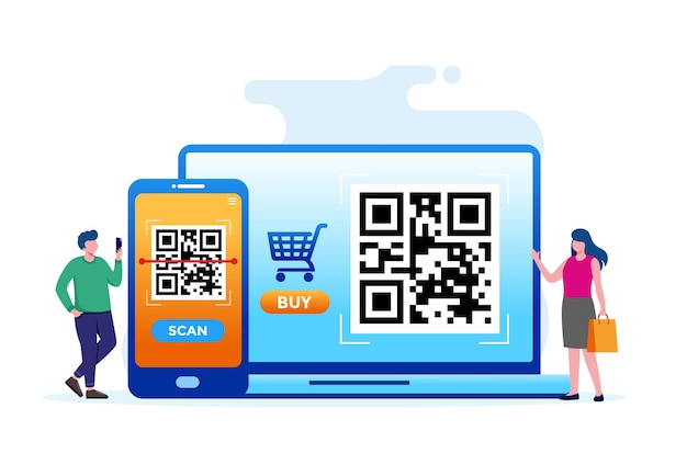 Scan barcode technology flat vector illustration for banner and landing page