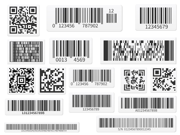 Scan code bars and qr codes label set