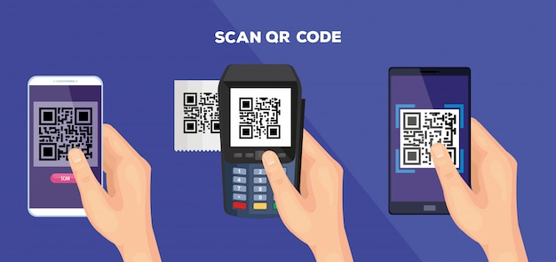 Scan code qr and elements illustration