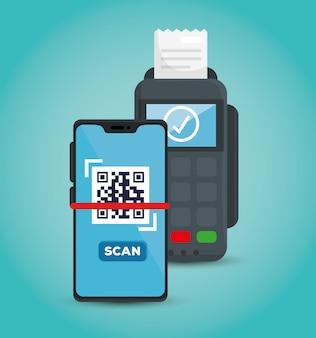 データフォンのイラストデザインとスマートフォンでコードqrをスキャンします。