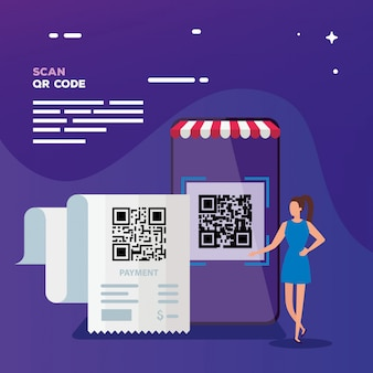 Scan code qr with businesswoman and smartphone