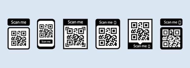 지불을 위해 아이콘 세트 또는 qr 코드 스캔