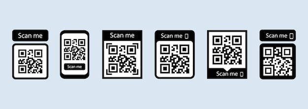 Scan me icon set or qr code for payment Premium Vector